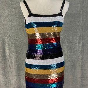 Tiger Mist Rainbow Stripe Sequin Mini Dress NWT